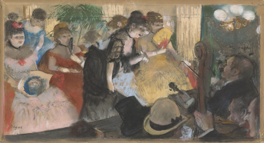 An exhibition of 64 pastel works of art are now on view at the National Gallery in Washington, D.C. Pastels are fragile, and therefore a challenge to display. Above, Edgar Degas' <em>Café-Concert,</em> which he drew in 1876-77.