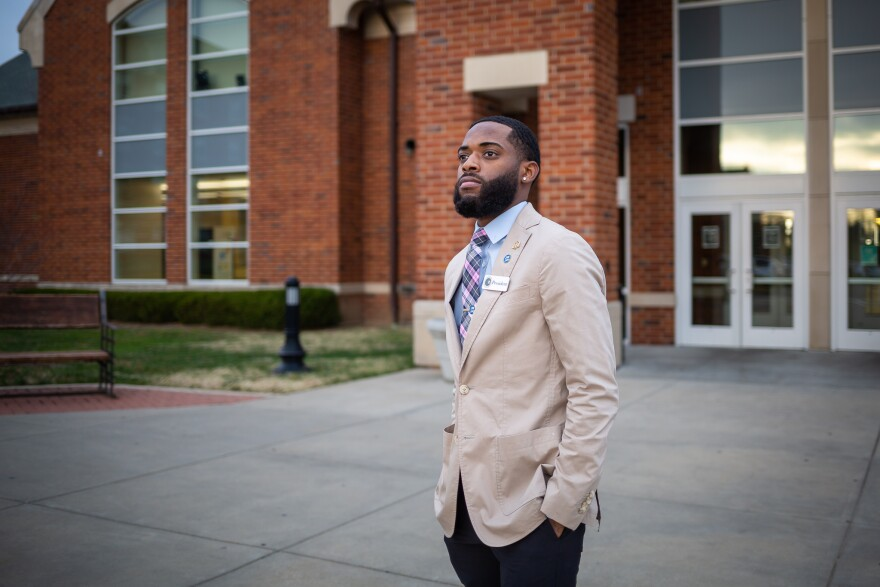 Marco Lee, a senior at Lindenwood University poses for a portrait on the school's St. Charles campus on Dec. 7, 2020.