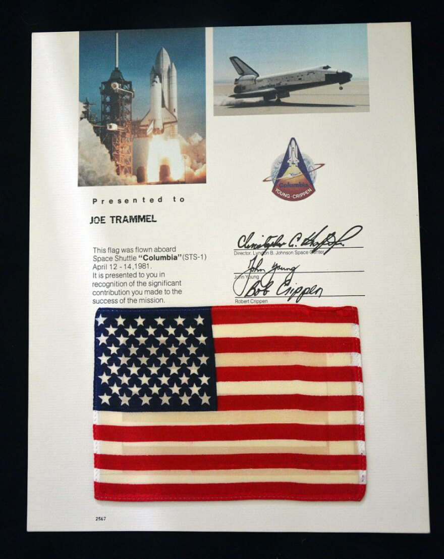 One of 10,000 4-inch-by-6-inch American flags flown on STS-1, the first flight of the space shuttle in 1981. Similar flags flew on every space shuttle mission; they were presented post-flight to space program workers and VIPs.