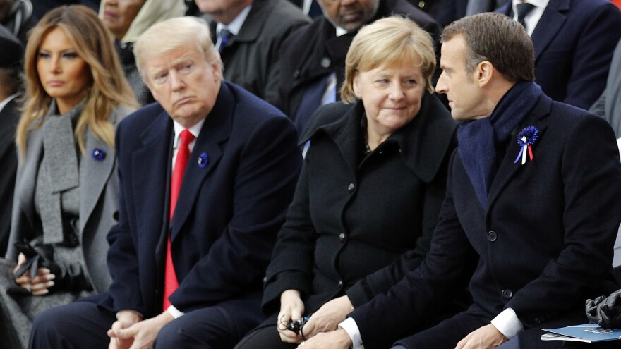 President Trump, German Chancellor Angela Merkel and French President Emmanuel Macron took part in a ceremony Sunday to commemorate the end of World War I.