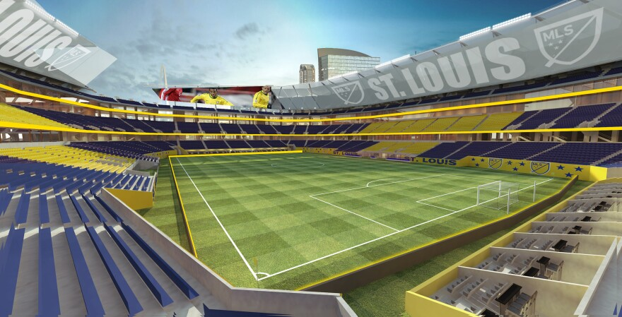 This is a mock-up of what the new riverfront stadium with a professional soccer team.