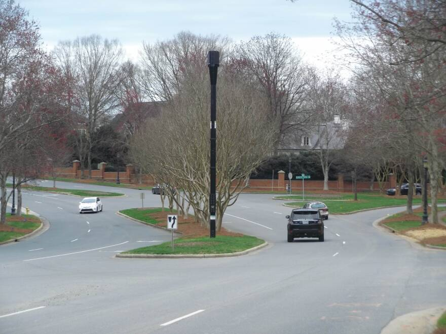 Verizon is putting up 5G poles around uptown and the Southpark area, including this one on Cameron Valley Parkway.