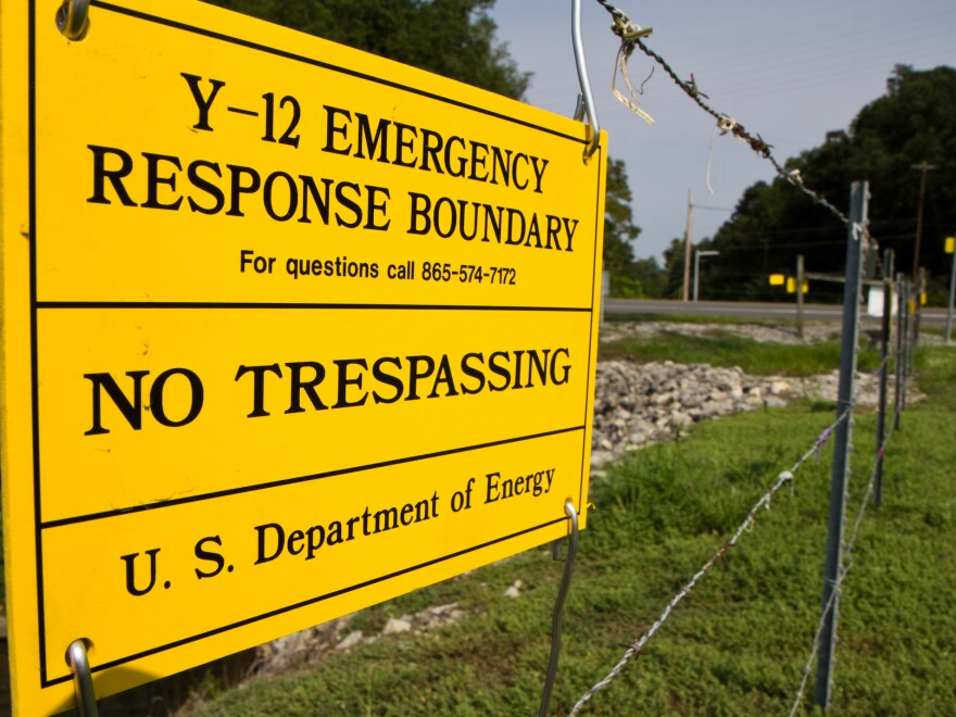 Signs warn against trespassing on to the Y-12 National Security Complex in Oak Ridge, Tenn.