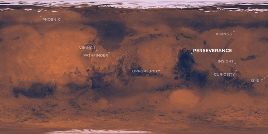 This map of Mars shows where NASA's Perseverance rover is scheduled to land in February 2021. Also shown are the locations where NASA's previous successful Mars missions touched down.