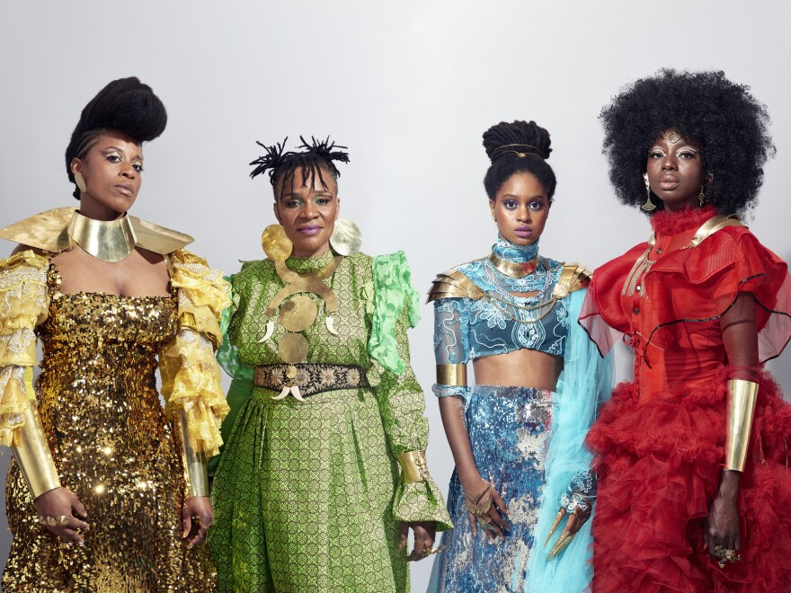 Left to right: Fafa Ruffino, Mamani Keita, Niariu and Kandy Guira are members of the collective Les Amazones d'Afrique. Their new album, <em>Amazones Power</em>, is out now.