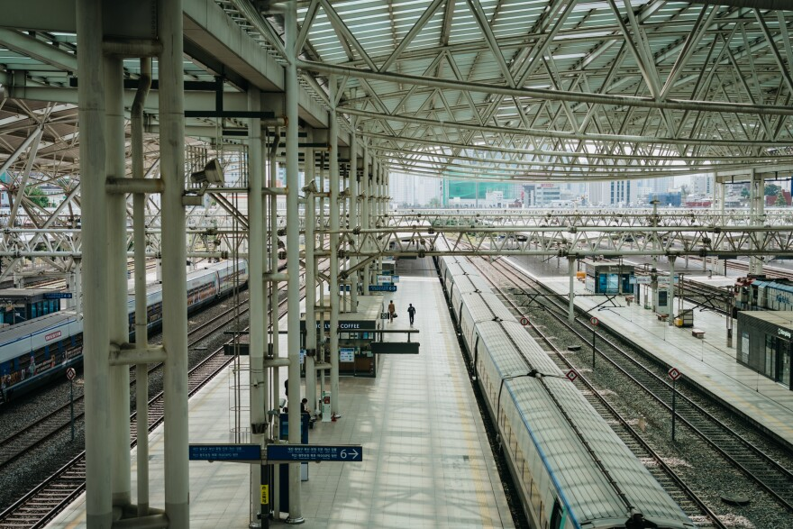 The Seoul train station was unusually empty last Tuesday, a day before the Chuseok holiday began. South Korea's Korail train operator only sold window seats to enforce social distancing this year.