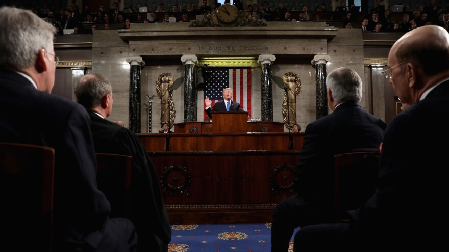 President Trump delivers the 2018 State of the Union address in the House chamber in Washington.