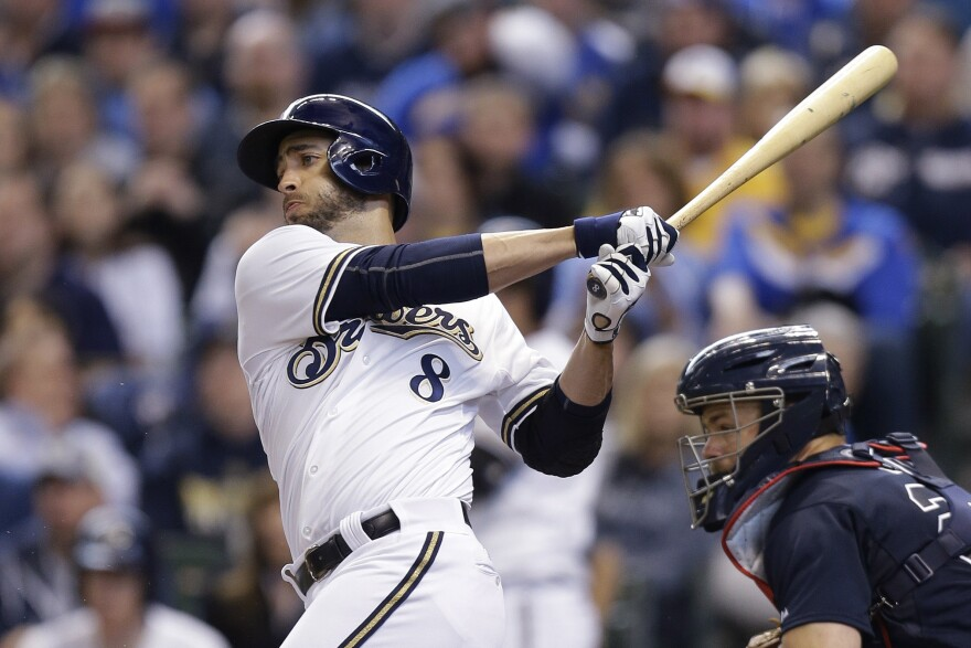 Ryan Braun of the Milwaukee Brewers singles in the bottom of the fourth inning against the Atlanta Braves during Opening Day.