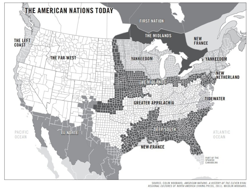 """Colin Woodard's map of the """"11 nations."""""""