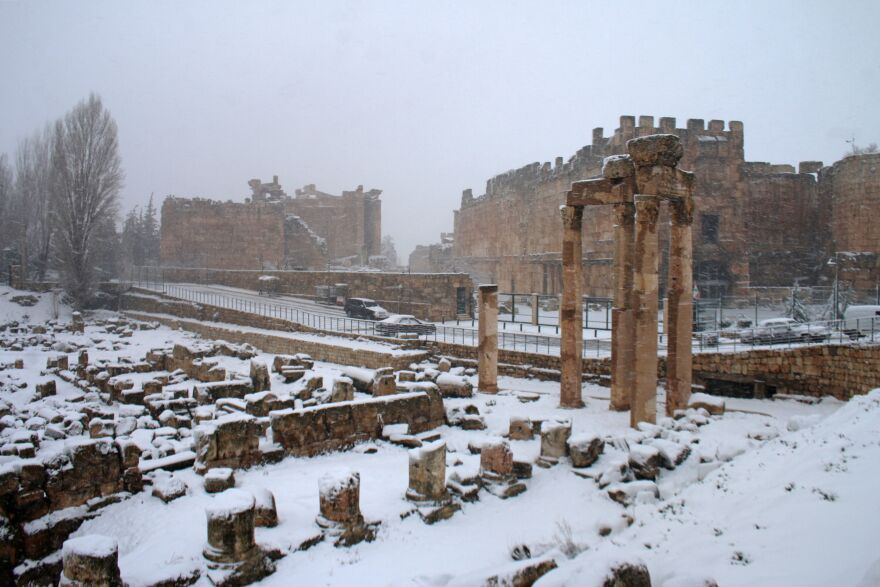 The archaeological site of Baalbek is covered with snow in the eastern Lebanese Bekaa Valley, on Wednesday.