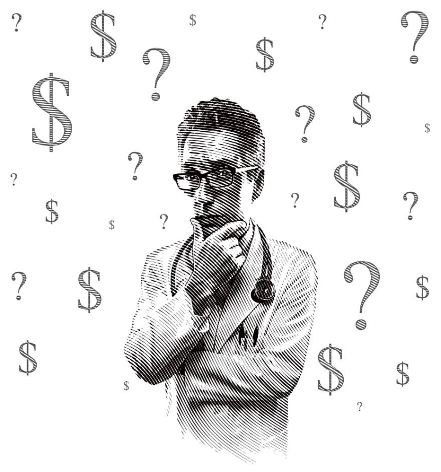 A pensive doctor is surrounded by question marks and dollar signs.