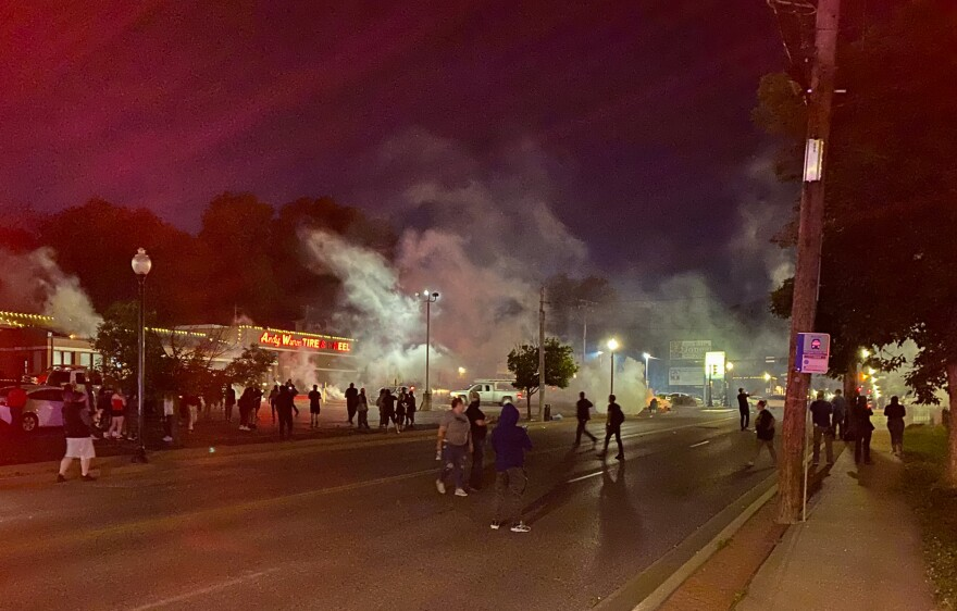 Police in Ferguson fired tear gas to disperse protest crowds Sunday night. 05/31/20