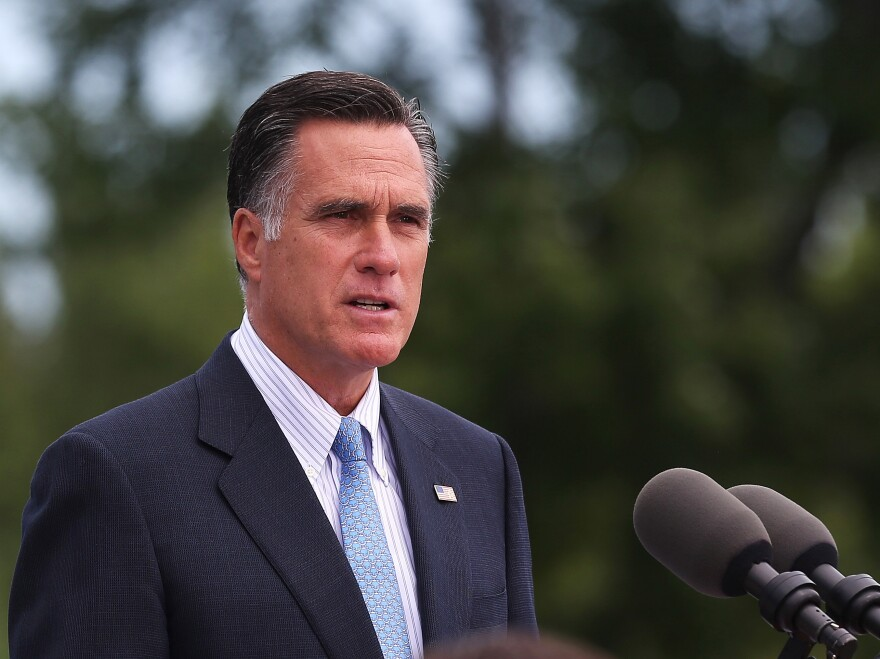 Republican presidential candidate Mitt Romney speaks in Bow, N.H., on July 20. On his upcoming trip, Romney plans to make stops in the United Kingdom, Israel and Poland.