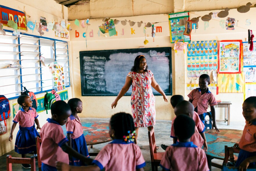 "Gbetodeme has been teaching preschool for more than 20 years: ""I realized that's what God has planned for me,"" she says."