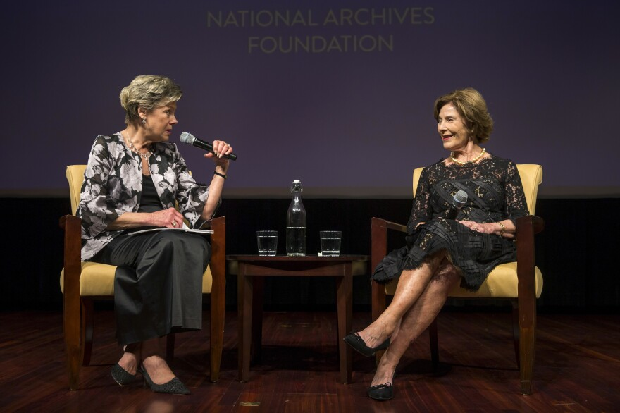 National Archives Foundation Vice Chair of Board Cokie Roberts and former first lady Laura Bush onstage at the National Archives Foundation Annual Gala in Washington, D.C., in 2018.