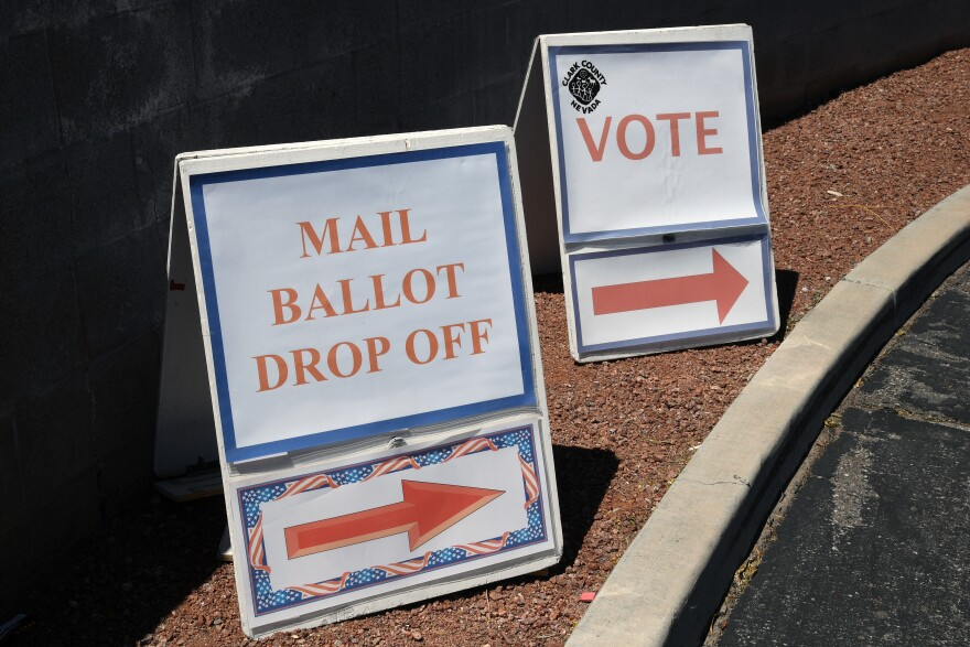 Signs direct people to the entrance of the Clark County Election Department during Nevada's election last month.