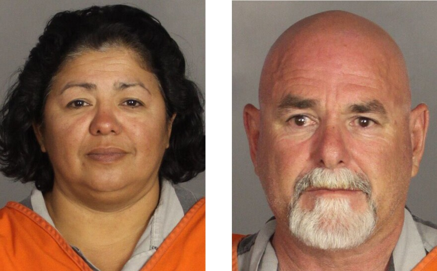 Ester Weaver (left) and Walter Weaver are shown here in booking photos taken after their arrest.