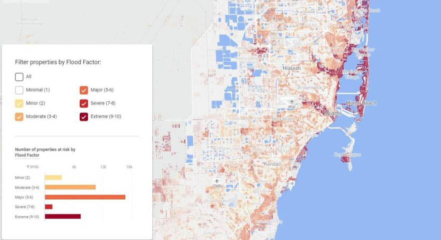 Mapping tool Flood Factor shows the flood risk level for Miami-Dade properties on a score of 1 to 10