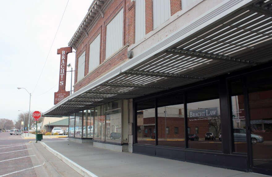 Bracht Law, where Moodie keeps an office, sits on Main Street in West Point, Neb.