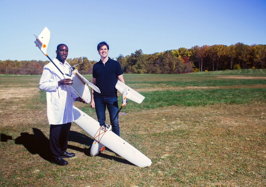 Timothy Amukele, an assistant professor of pathology at Johns Hopkins Medical School in Baltimore, and systems engineer Jeff Street are trying to figure out how to use drones to deliver blood samples.