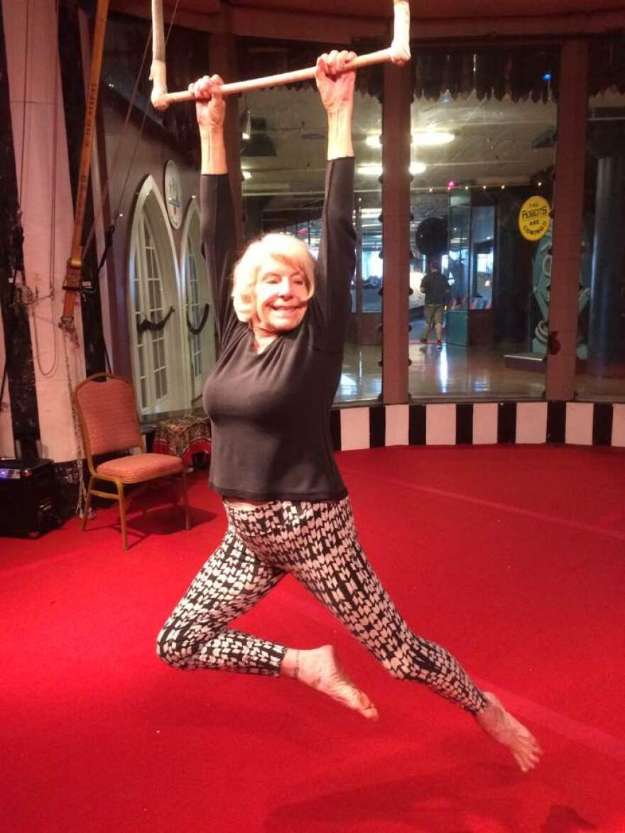 Elizabeth Herring poses with the trapeze at City Museum in this October 2016 photo.
