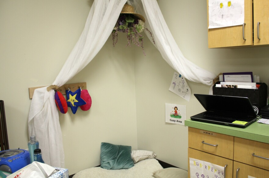 Schools that use restorative practices often have quiet areas students can go to regroup in stressful situations, like this cozy area at Pre-K 4 SA South.