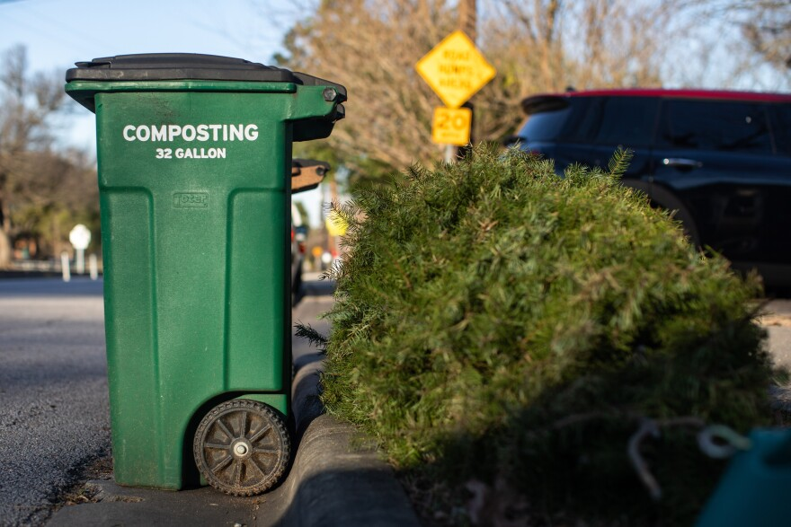 City of Austin compost collections bins in the Zilker neighborhood of South Austin.