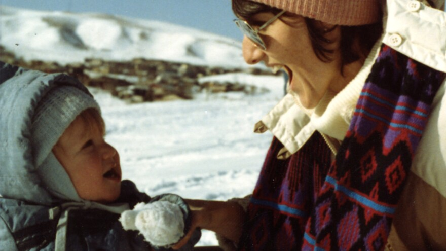 "Sue Klebold plays in the snow with a young Dylan. ""He's like an invisible child that I carry in my arms everywhere I go, always,"" she says."