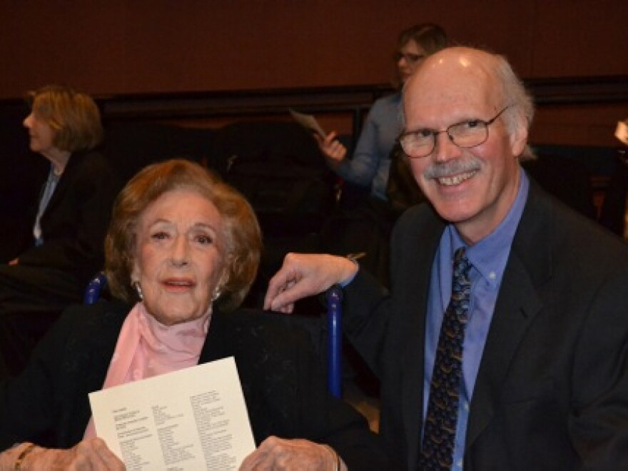 Marian McPartland and filmmaker Huey after a cast and crew screening of <em>In Good Time</em> in Port Washington, N.Y., in 2001.