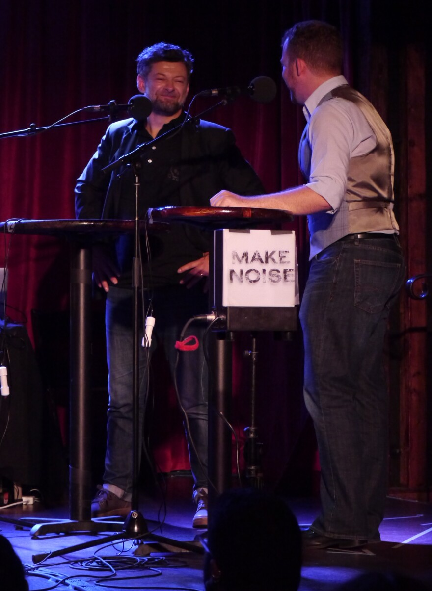 "Andy Serkis adeptly describes British slang like ""dummy"" and ""codswallop"" to contestant Topher Ziobro, on stage at The Bell House in Brooklyn, NY."