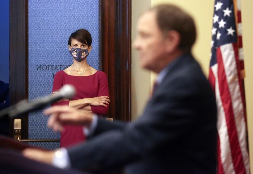 A photo of Angela Dunn and Gary Herbert.