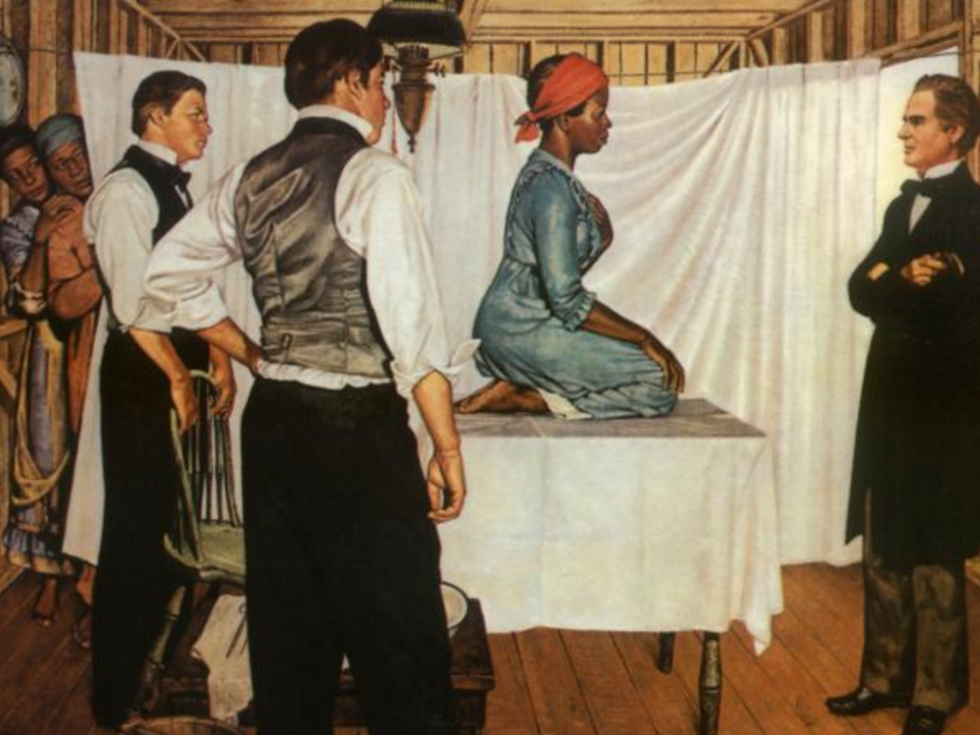 <em>Illustration of Dr. J. Marion Sims with Anarcha by Robert Thom. Courtesy of Southern Illinois University School of Medicine, Pearson Museum. </em>