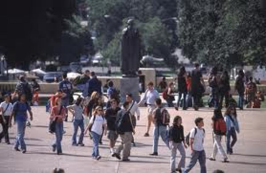 Texas college students between classes