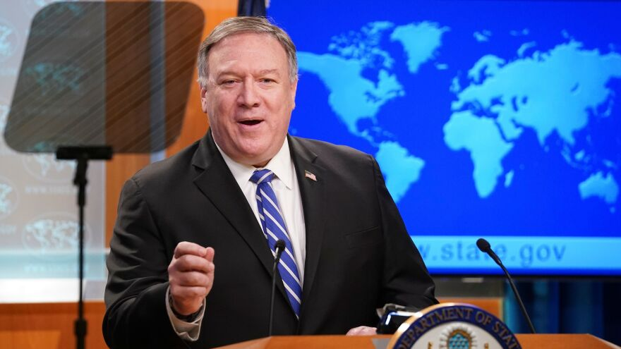 Secretary of State Mike Pompeo addresses a media briefing Wednesday in Washington, D.C. Pompeo pledged to seek the release of the two U.S. nationals detailed in Venezuela.