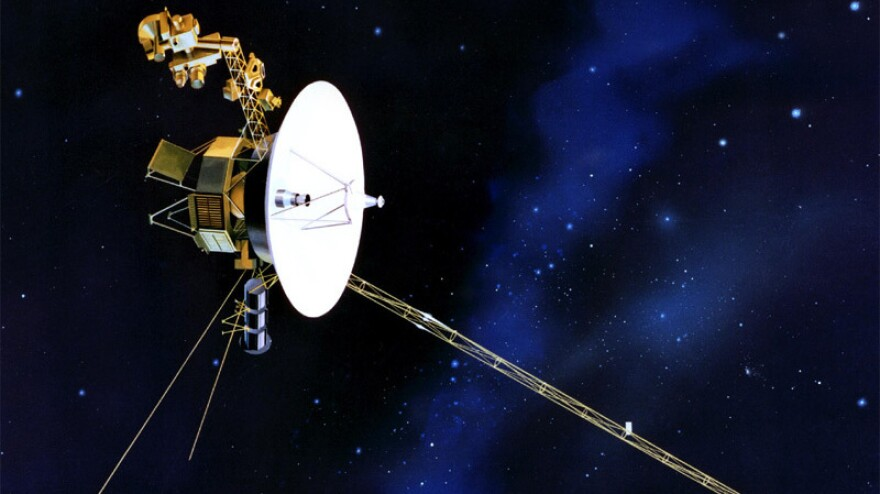 This artist's drawing shows one of the Voyager probes, which were launched in 1977. Voyager 1 is hurtling toward the edge of the solar system and might be close to reaching interstellar space, researchers say.