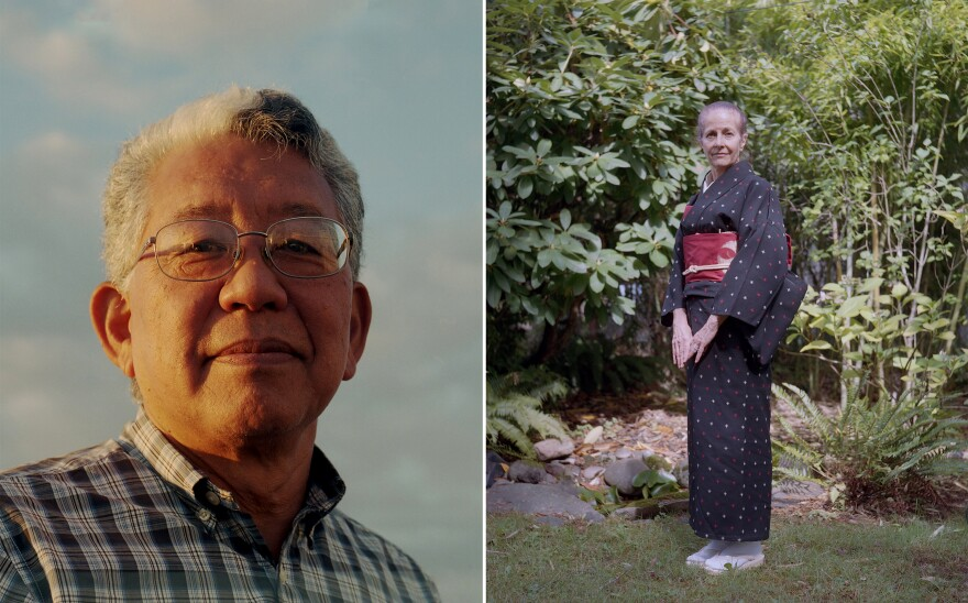 My dad, Tom Matsuda, at sunset (left). My mom, Sheila Walters Matsuda, in our garden in Portland, Oregon, after a Japanese tea ceremony class that she taught. She studied tea in Kyoto for 10 years.