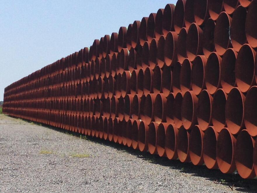 Pipe laying idle in the yard of Welspun Tubular in east Little Rock (2014 file photo).