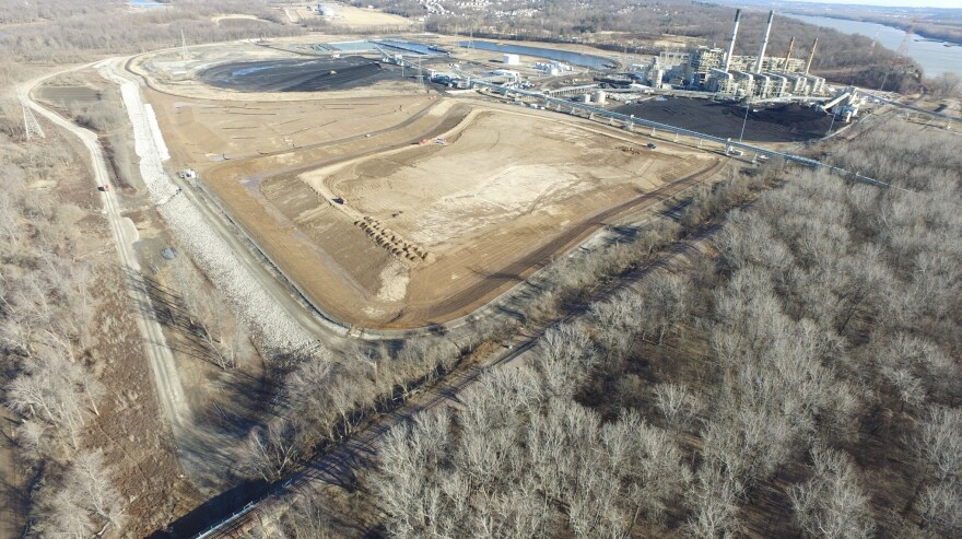 An aerial shot of one closed and one partially closed coal ash pond at the Meramec Energy Center in St. Louis in February 2018.