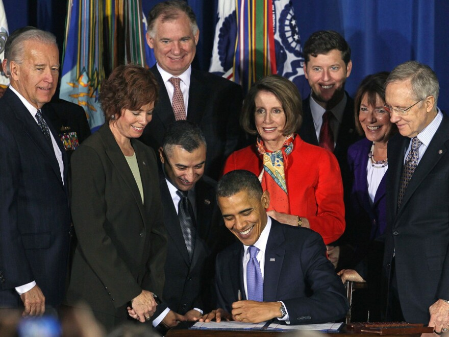 """President Obama signs the repeal of """"don't ask, don't tell."""" Dec. 22, 2010."""