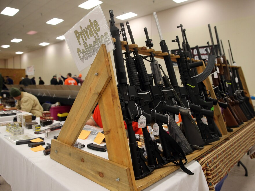 Guns on display at a show in Fort Wayne, Ind., last month.