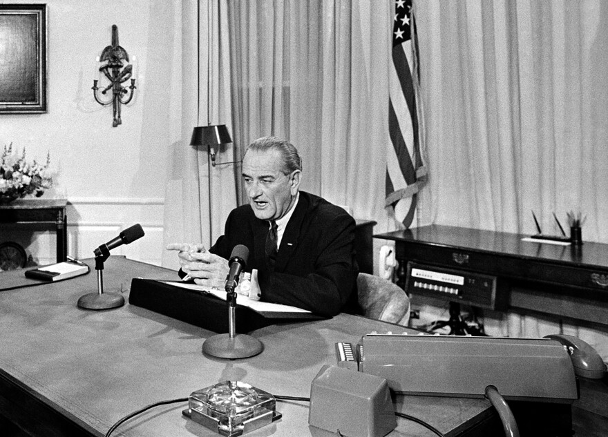 "President Lyndon B. Johnson talks to the nation in a radio and television broadcast from his desk at the White House in Washington, D.C., on March 31, 1968. The president concluded his address with the statement, ""I shall not seek and I will not accept the nomination for another term as president."""