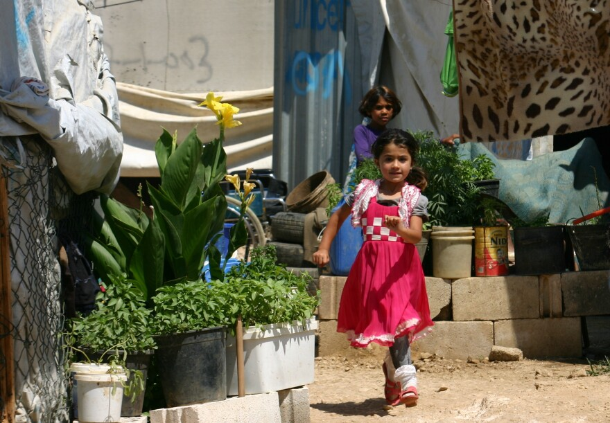 Syrian refugees live in makeshift shelters in the Beqaa Valley in Lebanon, just a few miles west of the Syrian border.