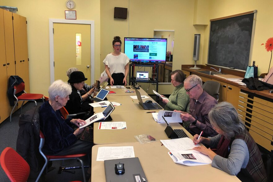 """Bre Clark leads a workshop at the Schweinhaut Senior Center in Silver Spring, Md., called """"How to Spot Fake News."""""""