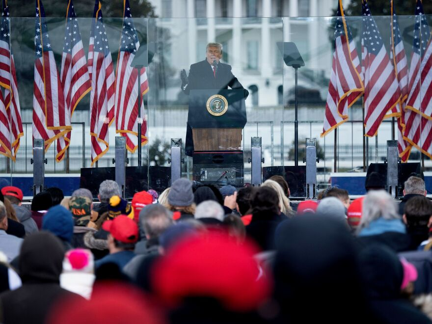 President Trump addresses his supporters at The Ellipse on Jan. 6. At his direction, crowds began marching toward the Capitol.