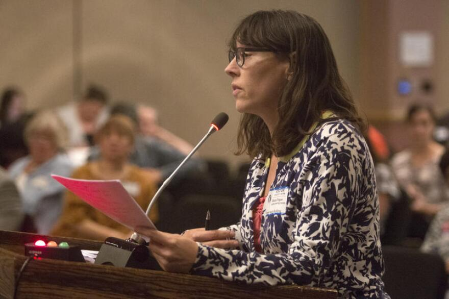 Stacy Pogue of the Center for Public Policy Priorities during the public hearing on the Healthy Texas Women program.