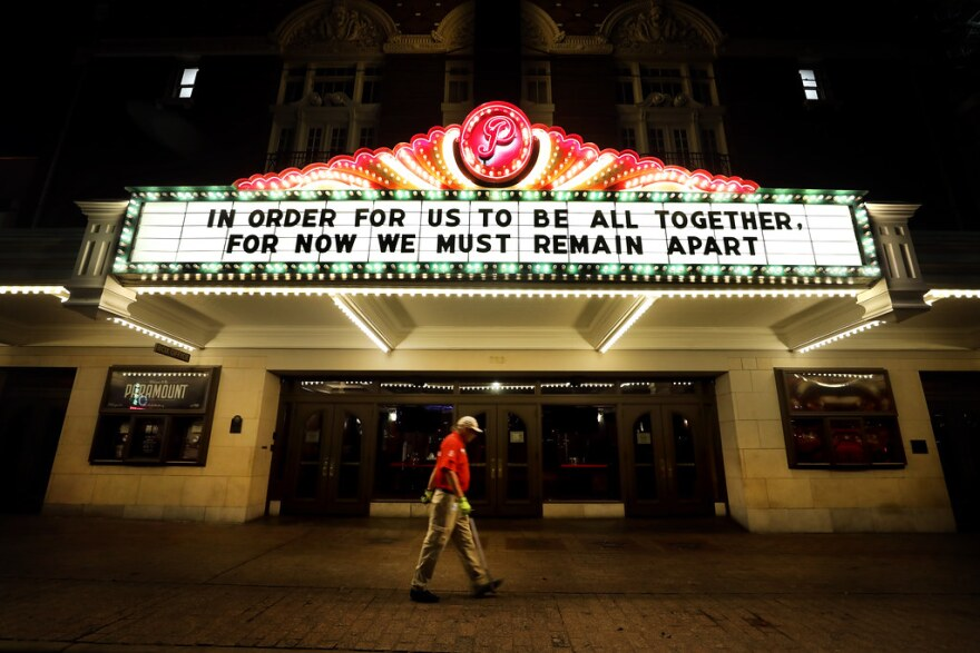 The Paramount Theatre, which would have been bustling during South by Southwest, sits on a quiet Congress Avenue on March 17.