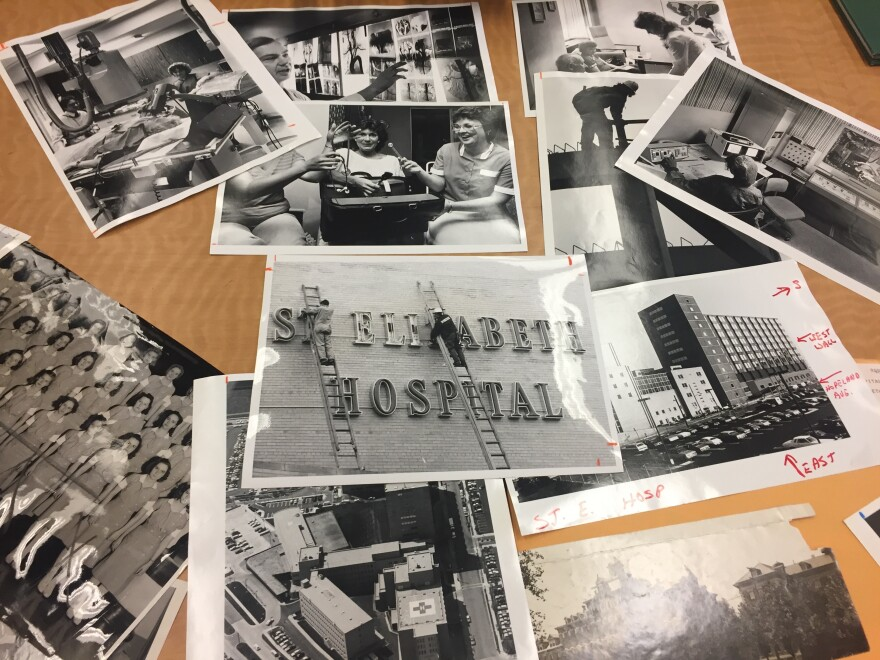 Historical photos of St. Elizabeth's Hospital at the Special Collections and Archives Center at Wright State University.