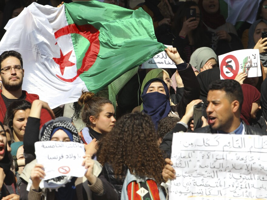 Students in Algiers protest President Abdelaziz Bouteflika's bid for a fifth term on Tuesday.
