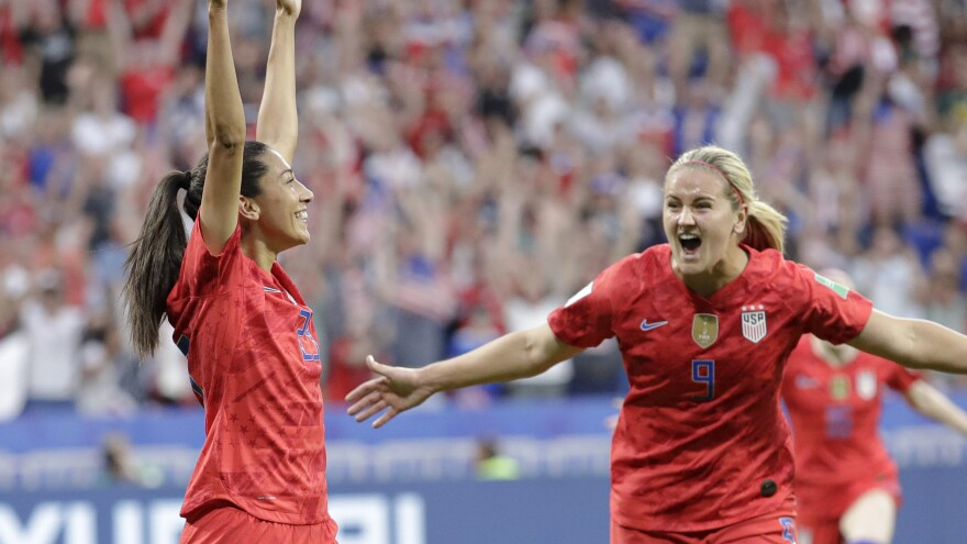 Christen Press (left) celebrates after scoring the U.S.'s first goal during the Women's World Cup semifinal against England. The U.S. won 2-1.