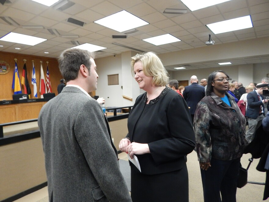 Dayton Mayor Nan Whaley talked to supporters and colleagues after her second state of the city speech Wednesday.